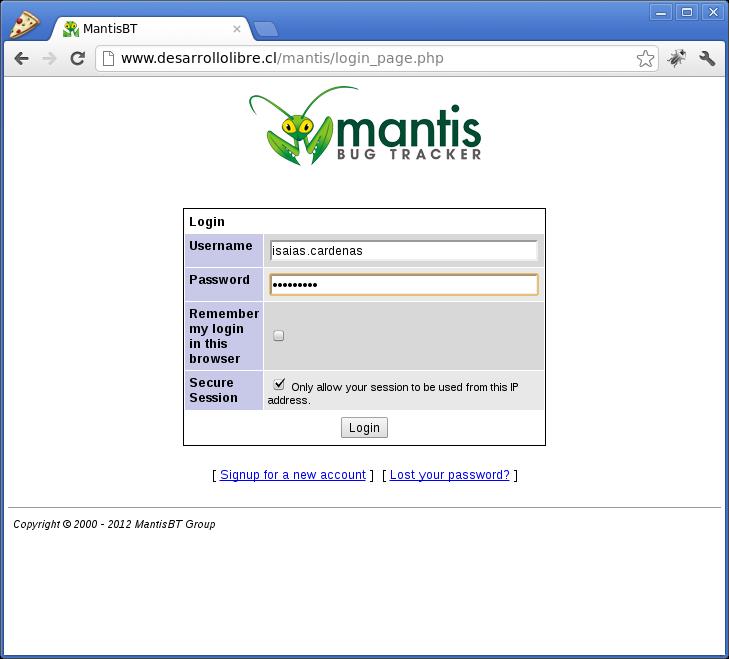 Uso de Mantis Bug Tracker